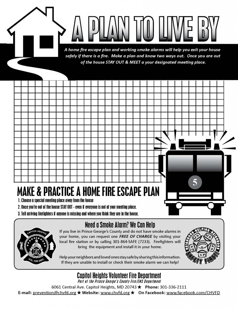 Safety zone capitol heights volunteer fire department for How to make a home fire escape plan